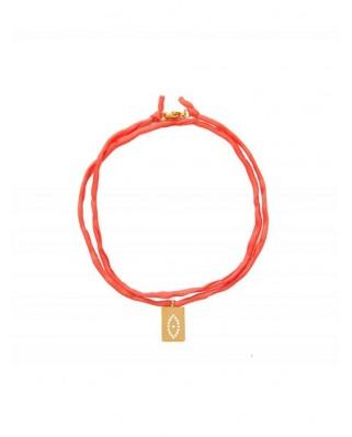 Barbora Eye Silk Cord Coral Necklace/Bracelet