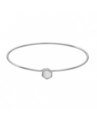 IDYLLE SILVER MARBLE HEXAGON BANGLE BRACELET